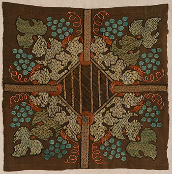 Deerfield Society of Blue and White Needlework, <em>Grape Arbor</em>, c. 1910.